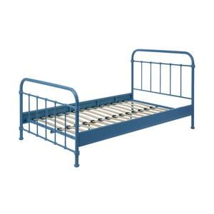 Modrá kovová detská posteľ Vipack New York, 120 × 200 cm