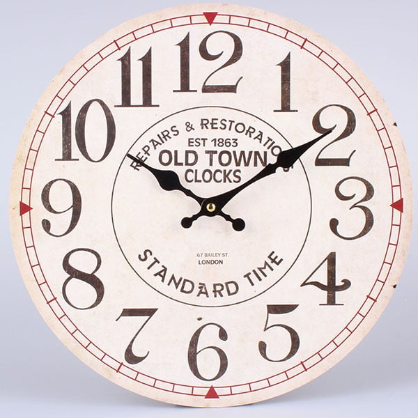 Hodiny White Old Town, 34 cm