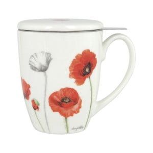Hrnček z kostného porcelánu s pokrievkou a sitkom na sypaný čaj Ashdene Poppies, 350ml