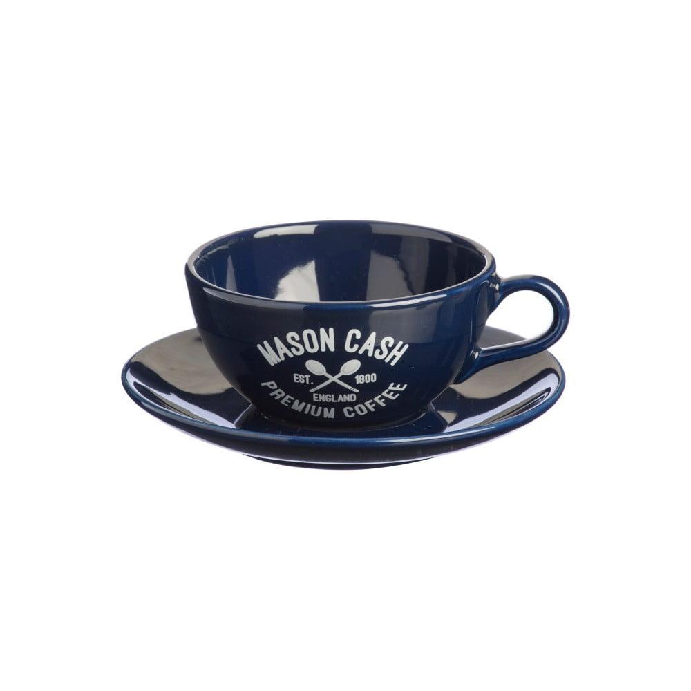 Tmavomodrá šálka s tanierikom Mason Cash Varsity Cappuccino