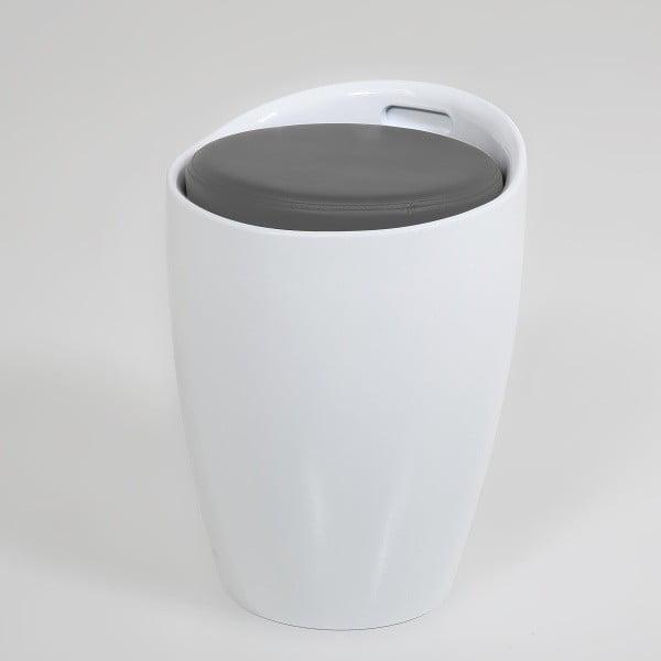 Stolička s úložným priestorom Minxie, bielo-sivá