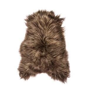 Tmavohnedá ovčia kožušina s dlhým vlasom, 100 x 60 cm