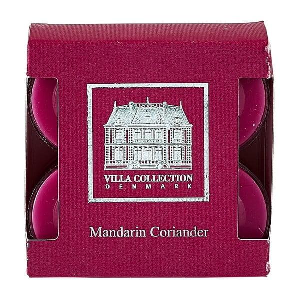Sada 8 čajových sviečok s vôňou koriandra a mandarínky Villa Collection