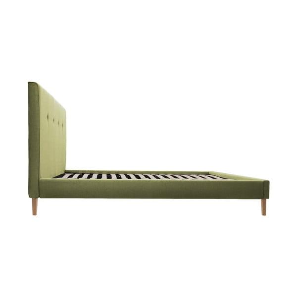 Zelená posteľ Vivonita Kent 180x200cm, prírodné nohy