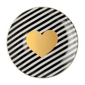 Čierno-biely porcelánový tanier Vivas Heart, Ø23 cm