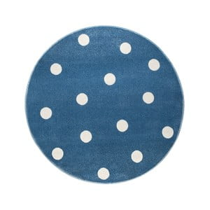 Modrý okrúhly koberec s hviezdami KICOTI Stars, 133 × 133 cm