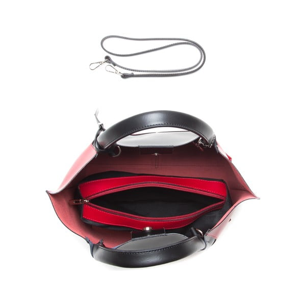 Kožená kabelka Anna Luchini 386 Rosso Nero