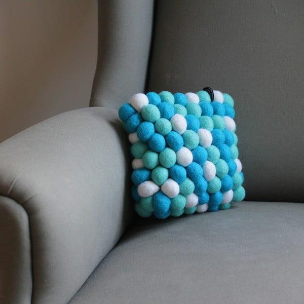 Ručne vyrobený guličkový vankúšik Pastel Mint