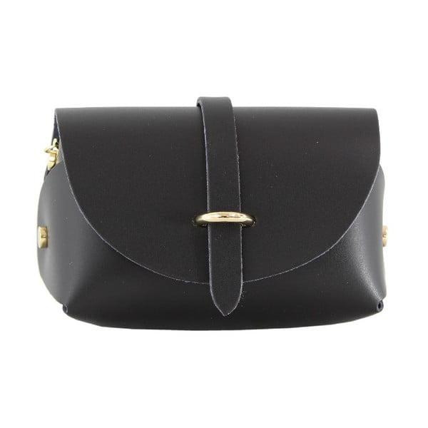 Kožená kabelka cez rameno Slaygie, čierna