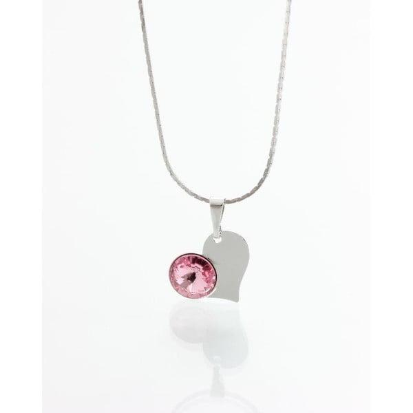 Ružový náhrdelník so Swarovski krištáľmi Yasmine Heart