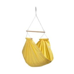 Žltá hojdačka z bavlny so zavesením do stropu Hojdavak Junior (3 až 10 rokov)