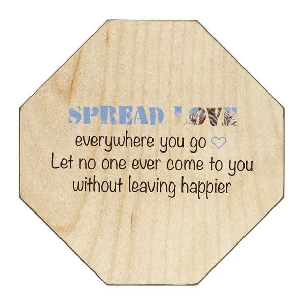 Drevená ceduľa Spread Love Everywhere, 30x30 cm