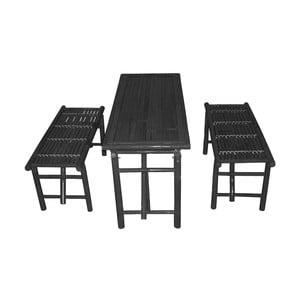 Set čierneho stolu a 2 lavíc z bambusu Leitmotiv