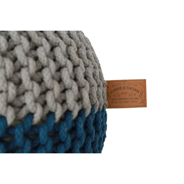 Sivo-modrý sedací puf Hawke&Thorn Parker