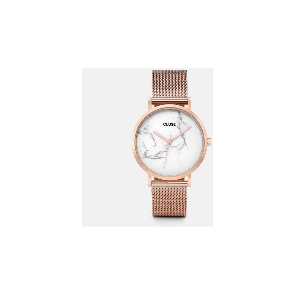6f7012e4bdbe7 Dámske hodinky z antikoro ocele vo farbe ružového zlata s mramorovým  ciferníkom Cluse La Roche Mesh