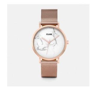 Dámske hodinky z antikoro oceľe vo farbe ružového zlata s mramorovým ciferníkom Cluse La Roche Mesh