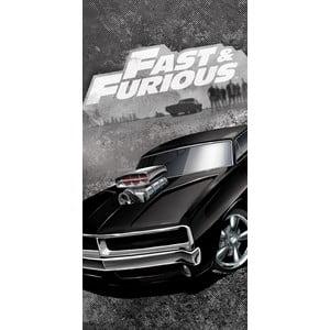 Čierny detský bavlnený uterák Halantex Fast&Furious, 70 x 140 cm