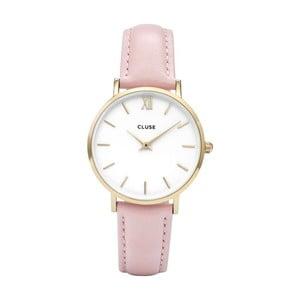 Dámske hodinky s ružovým koženým remienkom s detailmi v zlatej farbe Cluse Minuit