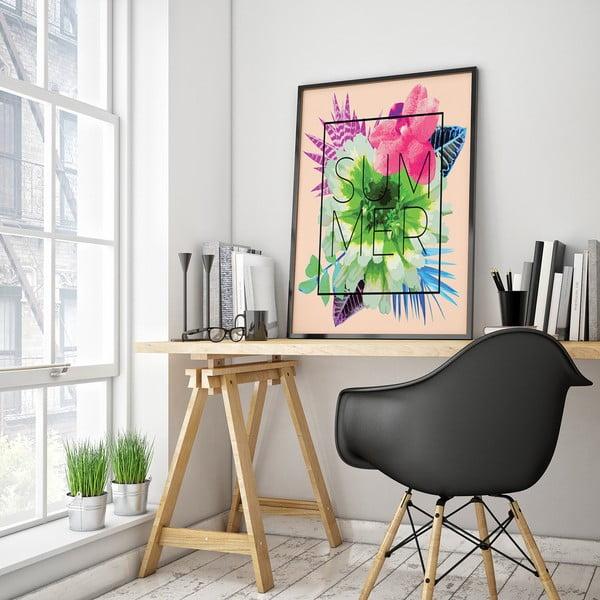 Plagát s kvetmi Summer, ružové pozadie, 30 x 40 cm