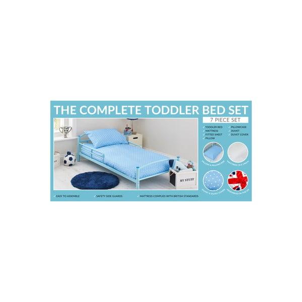 Detská posteľ s matracom a obliečkami Bundle, modrá