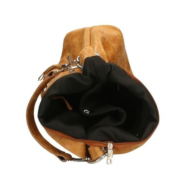 Koňakovohnedá kožená kabelka Chicca Borse Pendella