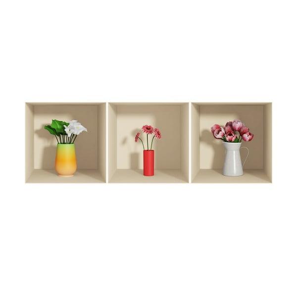 Sada 3 samolepiek s 3D efektom Fanastick Flowers