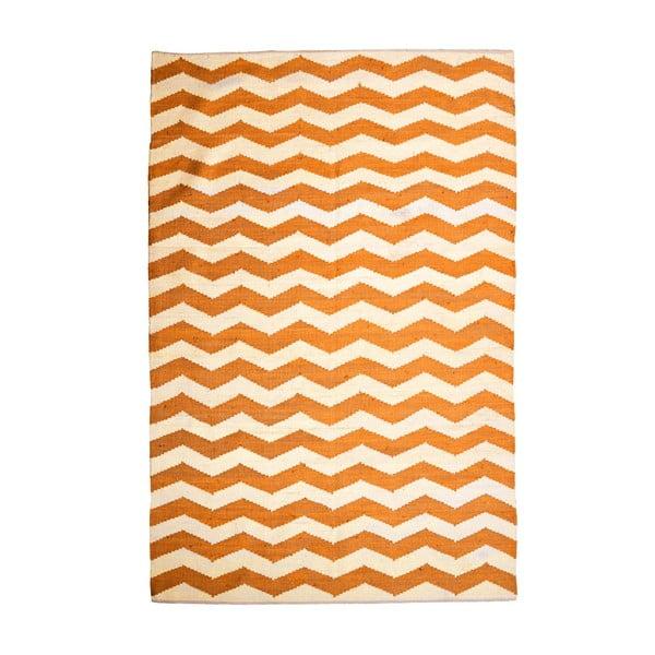 Bavlnený koberec Chevron Ivory/Orange, 120x180 cm
