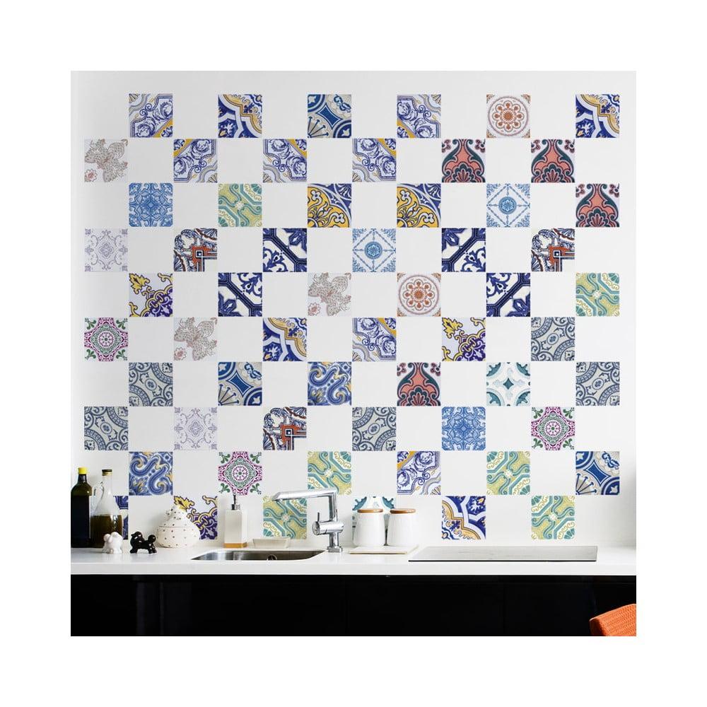 Sada 60 nástenných samolepiek Ambiance Wall Decals Tiles Stylish Multi Originals, 15 × 15 cm