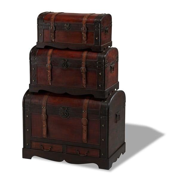 Sada 3 drevených dekoratívnych truhlíc Furnhouse Trunks Rustic