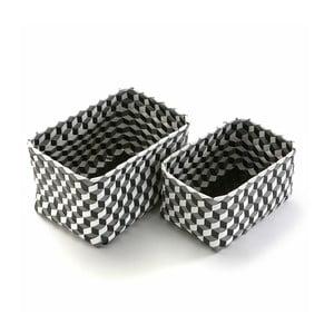 Sada 2 obdĺžnikových košíkov Black & Grey