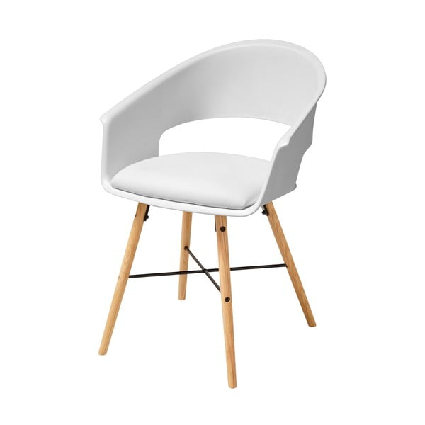 Biela jedálenská stolička s podnožím z bukového dreva Actona Ivar