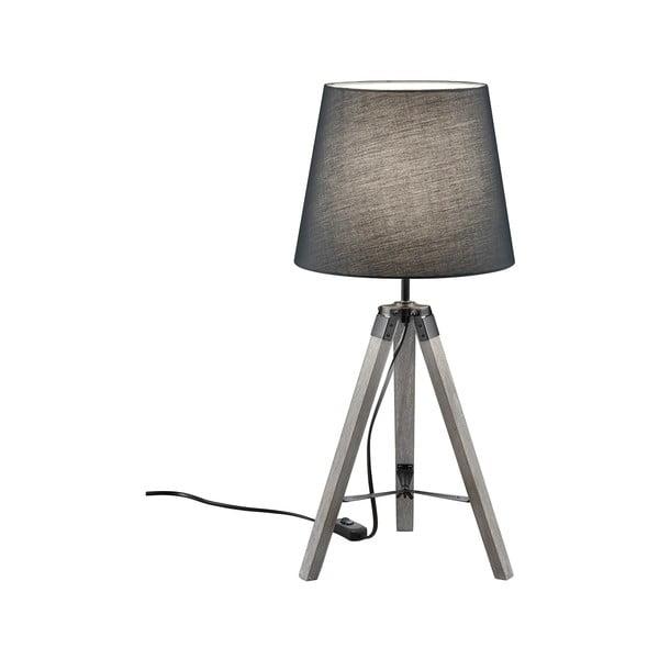 Sivá stolová lampa z prírodného dreva a tkaniny Trio Tripod, výška 57,5 cm