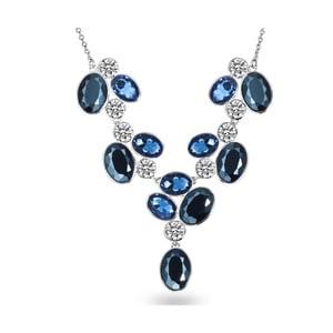 Dámsky náhrdelník striebornej farby s modrými krištáľmi Runaway