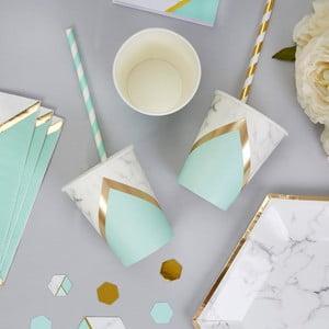 Sada 8 papierových pohárikov Neviti Mint Colour Block Marble