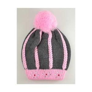 Dievčenská čiapka Beret Graphite/Pink