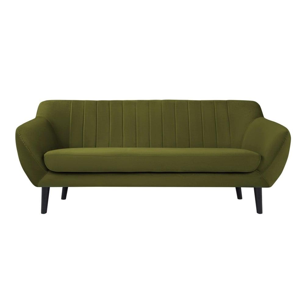 Zelená pohovka pre troch Mazzini Sofas Toscane, čierne nohy