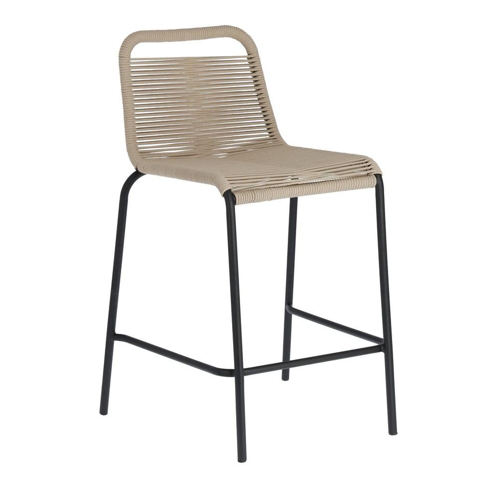 Béžová barová stolička s oceľovou konštrukciou La Forma Glenville, výška 62 cm