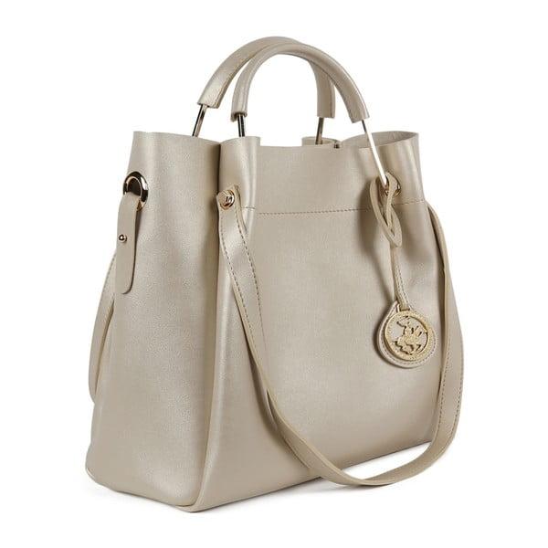 Krémovobiela kabelka z eko kože so zlatými odleskami Beverly Hills Polo Club Amy
