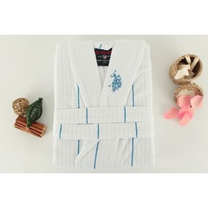 Biely pánsky župan s modrým detailom U.S. Polo Assn. Casper, veľ. L/XL