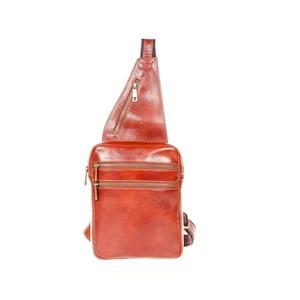 Hnedý kožený batoh cez rameno Italia in Pogress Martino