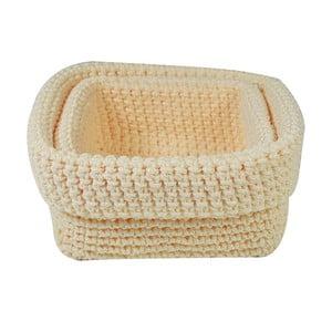 Set 2 košíkov Crochet Beige