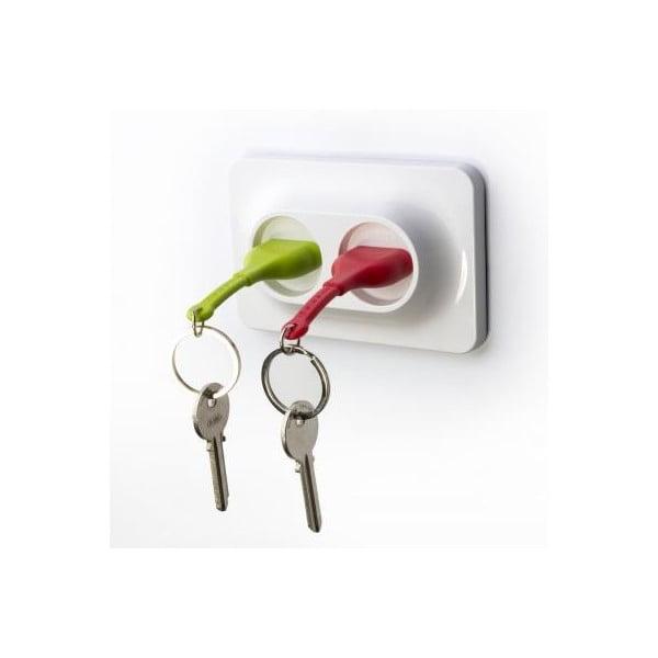 Nástenný držiak s kľúčenkami QUALY Double Unplug, zelená-červená