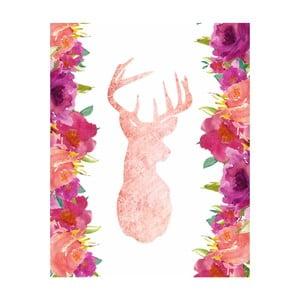 Plagát v drevenom ráme Pink Deer, 38x28 cm