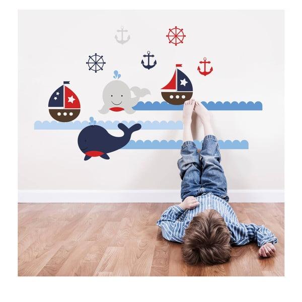 Samolepka na stenu Veľryby a lode