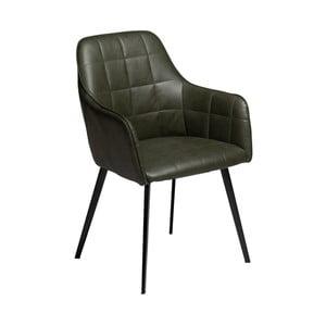 Tmavozelená jedálenská stolička z eko kože s opierkami DAN–FORM Denmark Embrace