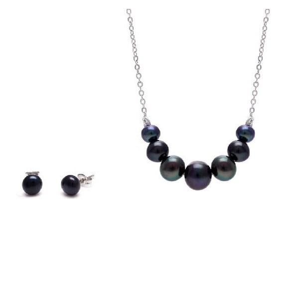 Sada náhrdelníka a náušníc z riečnych perál Chain, čierna