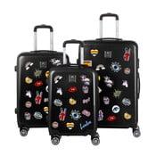 Sada 3 čiernych cestovných kufrov so sadou nálepiek Berenice Stickers