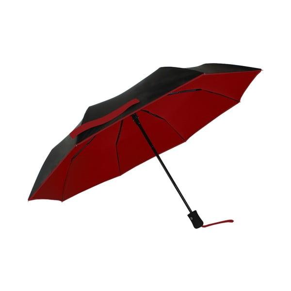 Červeno-čierny vetruodolný dáždnik s UV ochranou Ambiance, ⌀ 97 cm