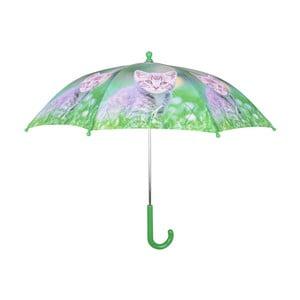 Zelený dáždnik s potlačou mačičky Esschert Design Animals