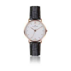Pánske hodinky s čiernym remienkom z pravej kože Frederic Graff Rose Dent Blanche Croco Black Leather